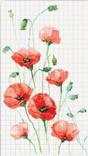 Вышивание крестиком: схемы 7 маков, рисунок