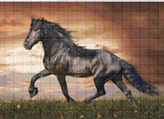 Вышивание крестиком. Лошадь гнедая