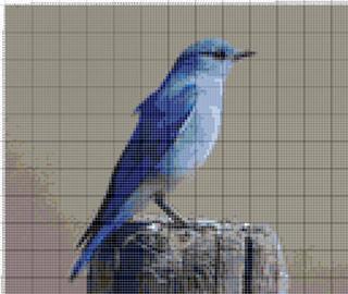 Вышивание крестиком. Голубая птица