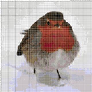 Вышивание крестиком. Снегирь