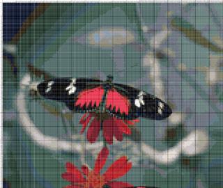 Вышивание крестиком. Бабочка с красными крыльями