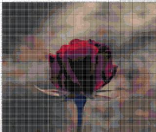 Вышивание крестиком: схемы Темнокрасная роза