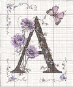 Вышивание крестиком: схемы Буква A