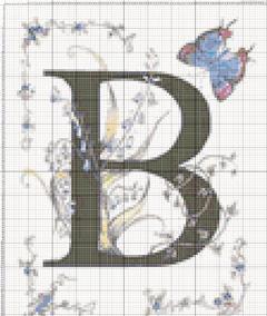 Вышивание крестиком: схемы Буква B