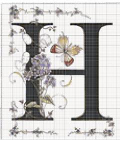 Вышивание крестиком: схемы Буква H