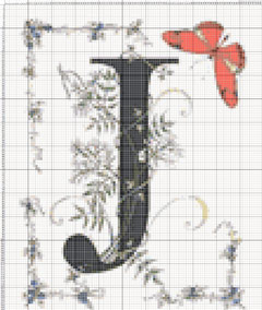 Вышивание крестиком: схемы Буква J