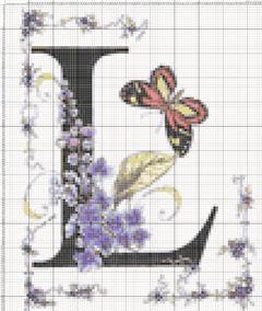 Вышивание крестиком: схемы Буква L