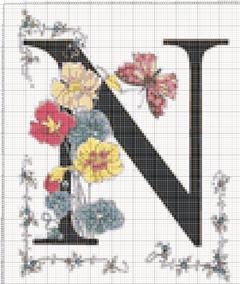 Вышивание крестиком: схемы Буква N
