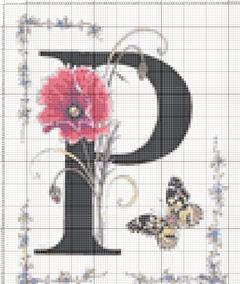 Вышивание крестиком: схемы Буква P