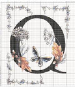 Вышивание крестиком: схемы Буква Q