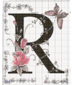 Вышивание крестиком: схемы Буква R