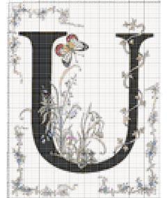 Вышивание крестиком: схемы Буква U
