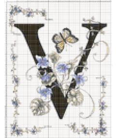 Вышивание крестиком: схемы Буква V