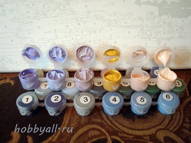 Краски из набора для рисования по номерам