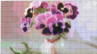 Вышивание крестиком: схемы Анютины глазки_в вазе