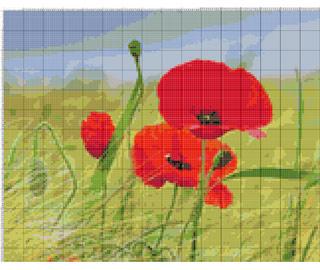 Вышивание крестиком: схемы Маки на поле, рис.1
