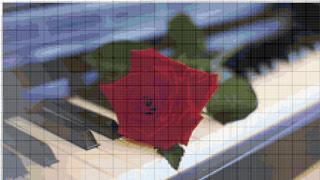 Вышивание крестиком. Роза на рояле