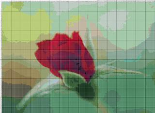 Вышивание крестиком. Роза красная, бутон
