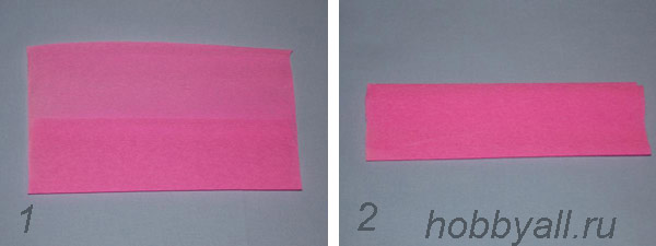 Схема сердечка из бумаги, пункт 1,2