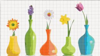 Вышивание крестиком. Ваза с цветком. 5 вариантов