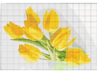 Вышивание крестиком: схемы Желтые тюльпаны